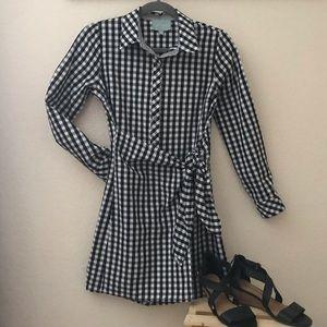 Long sleeve gingham/plaid faux wrap dress
